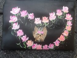 Hand Painted art Yorkshire Terrier YORKIE dog art    black wristlet ooak roses