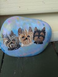 ORIGINAL HAND PAINTED Yorkshire terrier DOG RIVER ROCK stone art yorkie pups