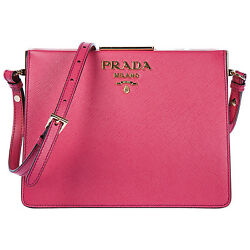 PRADA WOMEN'S LEATHER CROSS-BODY MESSENGER SHOULDER BAG PINK 0C7
