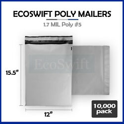 10000 12x16 White Poly Mailers Shipping Envelopes Self Sealing Bags 1.7 Mil