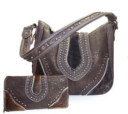 Trinity Ranch Concealed Carry Floral Tooled Hair-On-Hide Hobo + Wallet - Coffee
