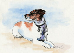 JACK RUSSELL TERRIER Original Watercolor on Ink Print Matted 11x14 Ready to Fr