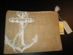 Aweigh We Go Jute Carry-All Case by Mud Pie Anchor Design NWT $11.96
