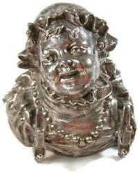 Antique Meriden Silver Plate Figural Inkwell Insert Lady Head And Pearl Necklace