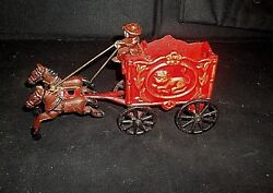 Vintage Cast Iron Horse Drawn Circus Wagon With 2 Horses And Driver Cica 20and039s-30and039s