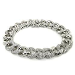 Gorgeous 3.08 TCW Round Cut Diamonds Chain Bracelet In Solid 14k White Gold