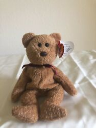 New Super Rare Ty Beanie Baby Curley Retired Bear With Errors Spelling Mistakes