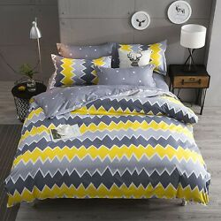Yellow And Gray Comfy Bedding Set Duvet Cover+sheet+pillow Case Three-pieces