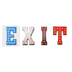 Exit Here This Way Out Door Salida Vintage Rustic Metal Marquee Light Up Sign
