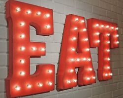 21 Eat Dine Diner Cafe Food Restaurant Yum Rustic Metal Marquee Light Up Sign