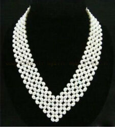 Genuine Natural 4-5mm Stylish Womenand039s Jewelry White Pearl Necklace 17