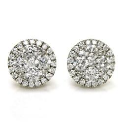 1.73 Tcw Diamonds Pair Of Cluster Earrings In Solid 14k White Gold