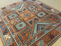 8andrsquo.7andrdquo X 10andrsquo.0andrdquo Rust Blue Fine Geometric Oriental Rug Hand Knotted Wool