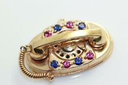Vintage 14k Gold 3d Telephone Charm Move Old Phone Ruby Sapphire Xlarge