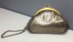 WHITING AND DAVIS NWT Gold Metallic Mesh Tuck In Wrist Strap Evening Bag B4627
