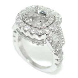 Dome Halo Engagement Ring Setting For Round Center In 18k White Gold Size 5.5