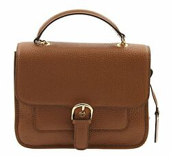 NEW Michael Kors Leather Cooper Large Satchel Messenger Crossbody Bag -Luggage