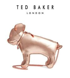 NWT Ted Baker BOSTON TERRIER Rose Gold Synthetic Dog CrossbodyBag~GREAT GIFT