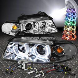 CHROME RGB COLOR RING HALO PROJECTOR HEADLIGHT+6000K HID KIT FOR 96-01 B5 A4
