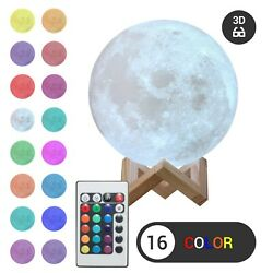 3d Moon Night Light Table Lamp Usb Charging Remote Touch Control Home Decor Gift