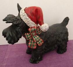 Black Scottie Scottish Terrier Resin Dog Figure Figurine Christmas Holiday
