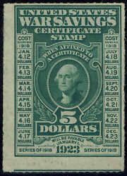 Ws3 1917 5 War Savings Stamp Mint-og/nh--rouletted 7 Perfs-lite Gum Stain