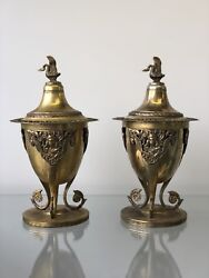 Pair Of Antique 800 Silver Gold Vermeil Compotes Signed D. Ventrella Italian