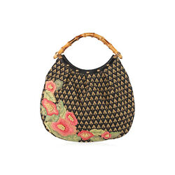 Authentic Gucci Limited Edition Raffia Flowers Canvas Hobo Bag Bamboo Handle