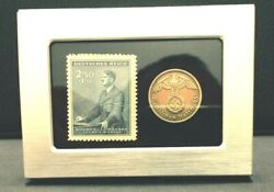 German Wwii Rare 10 Rp Brass Coin And Stamp In A Secure Silver Metal Disp Frame
