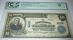 10 1902 Atlantic Highlands New Jersey Nj National Currency Bank Note Bill 4119