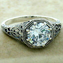 Wedding Engagament 925 Sterling Silver Antique Finish Cz Ring Size 10  1146