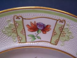Spode Custom Decorated ( 10 ) Cabinet Plates w A Dimpled Border
