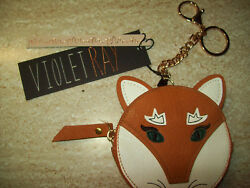 Violet Ray Cute Round Zip Close FOX FACE Key Chain Purse NWT Nice Gift