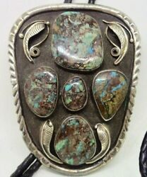 Xl Old Pawn Navajo Signed Sterling Silver Turquoise Bolo Tie Necklace Heavy Huge