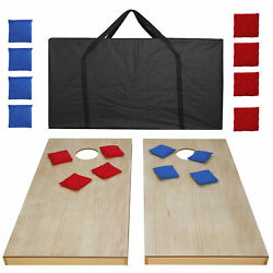 Unfinished Solid Wood Bean Bag Toss Cornhole Board Game Set Size 4x2'
