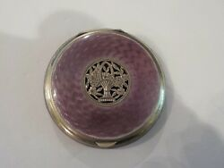 Austrian Sterling Silver Guilloche Enamel Compact Reticulated Decoration