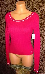 Nwt Aeropostale Preppy Fitted Red Angora Blend Wide Neck Cable Sweater S