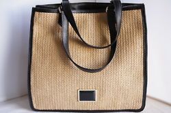 New Marc by Marc Jacobs Straw Tote Beach Shoulder Bag Natural Handbag