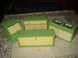 Vintage Primitive Toy Wood Doll House Dollhouse Kitchen/dining Room Furniture