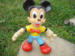 Early Antique Disney Rubber Squit Mickey Mouse Toy 10 1/2 Hard Rubber Toy Rrr