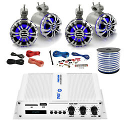Pyle Marine 4-channel Bluetooth Amp + Kit,4x 5.25 Tower Led Speakers,50 Ft Wire