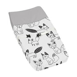 Changing Table Pad Cover For Sweet Jojo Grey Black And White Fox Baby Bedding Set