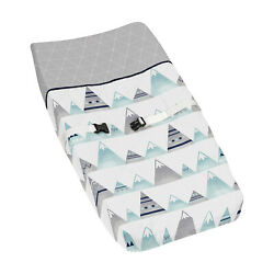 Sweet Jojo Changing Table Pad Cover For Grey And Aqua Mountain Crib Baby Bedding