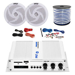 Pyle Marine 2-channel Bluetooth Amp + Kit 2x 5.25 White Speakers 50 Ft Wire