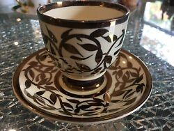 Demi Tasse Hand And Saucer Hand Painted Old Lustre Ware - Myott Son And Co Engla