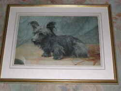 VERY LARGE ANTIQUE SKYE TERRIER DOG PAINTING SIGNED W.C. SANDERS 1895