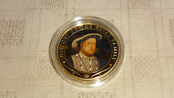 2009 Cook Islands 1 Gold Plated Coin. History Of The Royal Family. Henry Viii