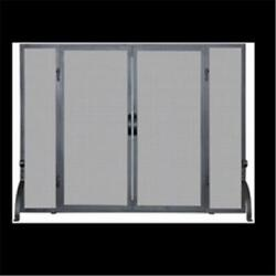 Uniflame S-1046 Single Panel Black Wrought Iron Screen With Doors Large