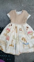 RARE* BOUTIQUE TRISH SCULLY girls sz 6X ss lined DRESS w DOG dogs PRINT EUC