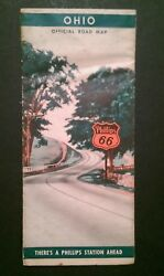 Jk265 1930and039s Ohio Official Road Map Phillips 66